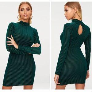 PrettyLittleThing Velvet Green Bodycon Dress
